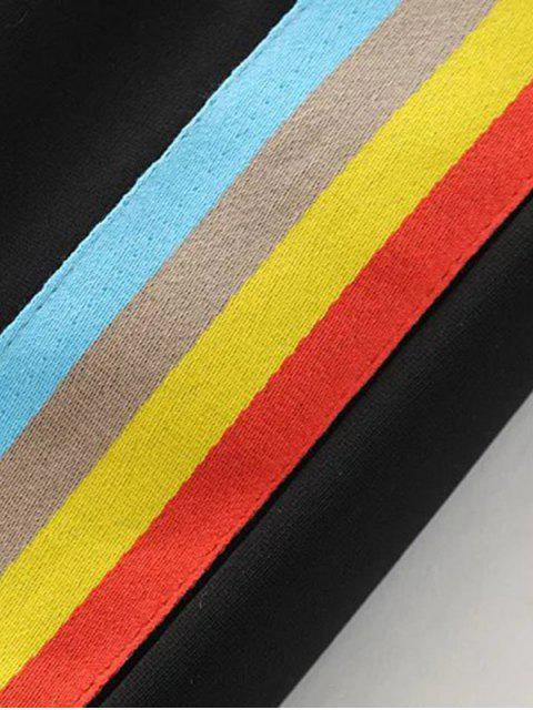 shops Color Block Drawstring Pants - BLACK S Mobile