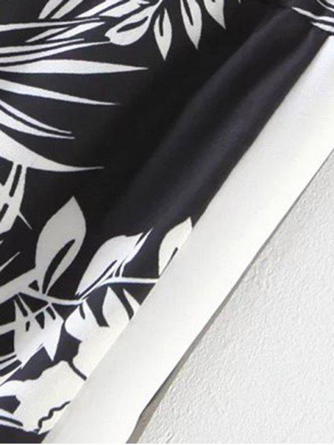 latest Chiffon Floral Wide Leg Pants - BLACK L Mobile