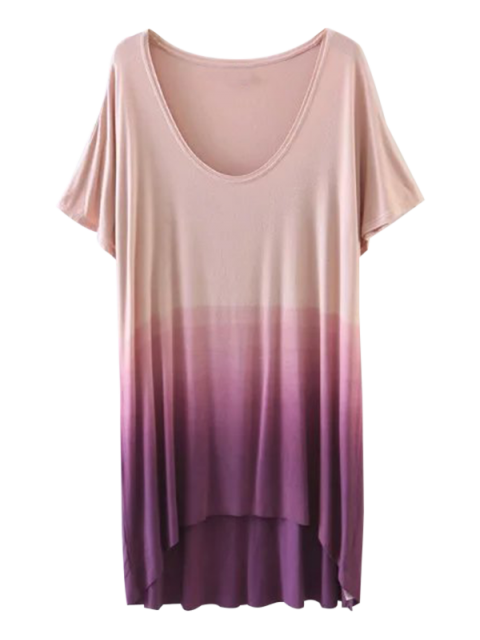 shop Ombre High Low T-Shirt - PURPLE S Mobile