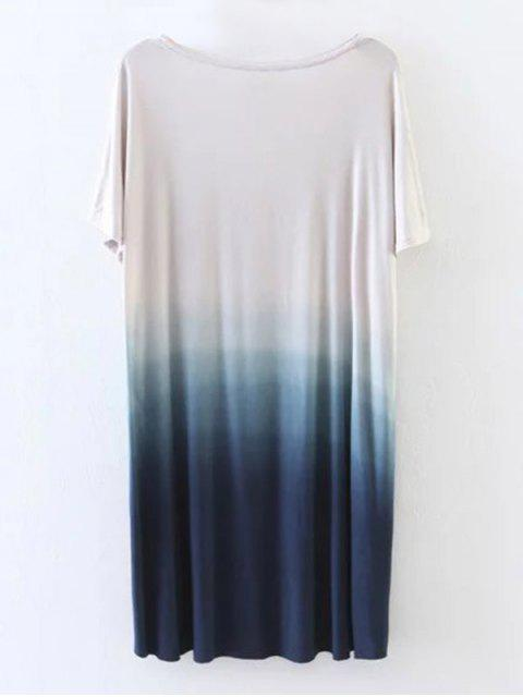 latest Ombre High Low T-Shirt - BLUE M Mobile