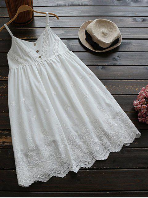 Gestickter Kittel Pupe Kleid - Weiß Eine Größe Mobile