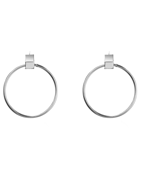 trendy Circle Hollow Out Earrings - SILVER  Mobile