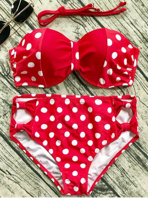 hot Cut Out Polka Dot Bikini Set - RED XL Mobile