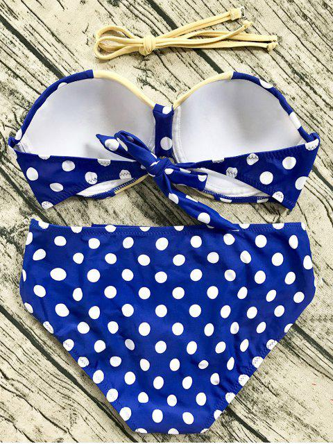 shops Cut Out Polka Dot Bikini Set - BLUE 2XL Mobile