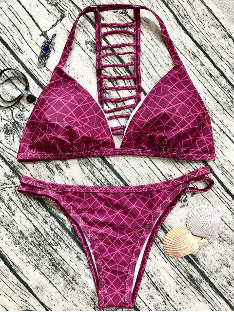 buy Ladder Back V String Bikini - WINE RED L Mobile