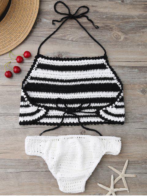 fancy High Neck Stripe Crochet Bikini Set - BLACK ONE SIZE Mobile