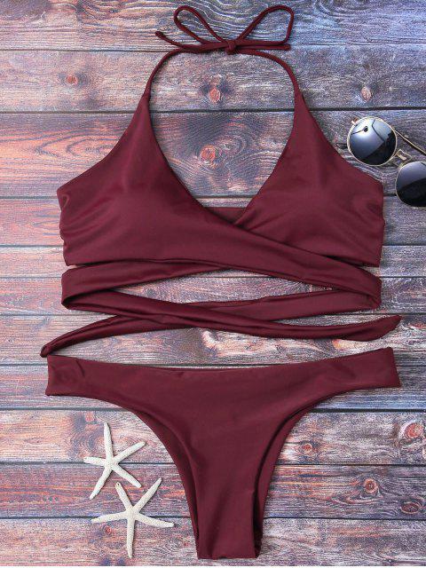 womens Wrap Tie Crossover Bikini - BURGUNDY S Mobile
