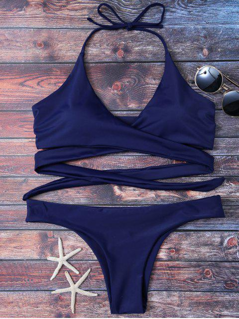 women Wrap Tie Crossover Bikini - BLUE 2XL Mobile
