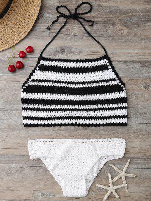 High Neck Stripe Crochet Bikini Set - Black