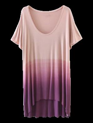 Ombre High Low T-Shirt - Purple L