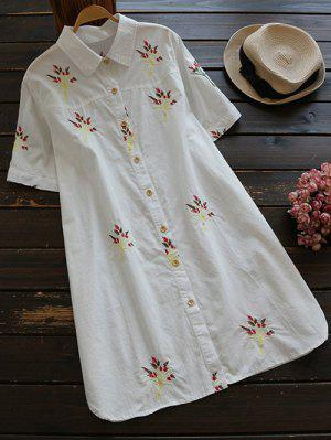 Vestido Camisero De Algodón Con Bordado - Blanco L