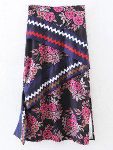 Asymmetric Print Slit Midi Skirt - Black L