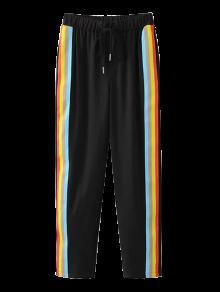 Color Block Drawstring Pants - Black M