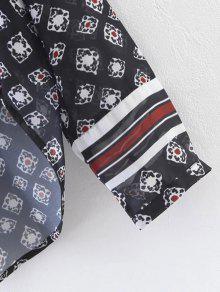 La Tama De Impreso Blusa L o De Negro Gran H7SHUqgWX