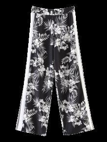 Chiffon Floral Wide Leg Pants - Black S
