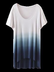 Ombre High Low T-Shirt - Blue S