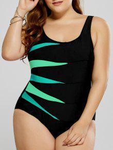 ملابس السباحة الحجم الكبير ملائم طباعة بقطعة واحدة - أخضر 5xl