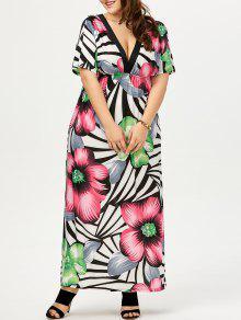 زائد حجم فستان ماكسي الزهور البوهيمي - أبيض 6xl