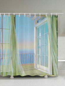 حمام ديكور شرفة سيسكيب دش الستار - أبيض 200 * 180cm