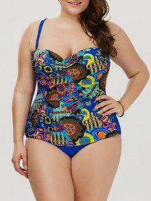 طباعة زائد حجم قطعة واحدة ملابس السباحة - أزرق 6xl