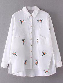 Camisa Bordada Flor Asimétrica De Lino - Blanco L
