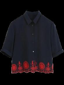 Embroidered Hollow Out Scalloped Shirt - Purplish Blue L