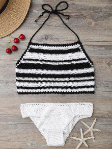 High Neck Stripe Crochet Bikini Set - Black