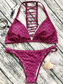 Ladder Back V String Bikini - Wine Red L
