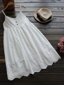 Robe Nuisette Plissée Avec Broderie - Blanc