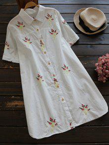 Robe Chemise En Coton Brodée - Blanc M