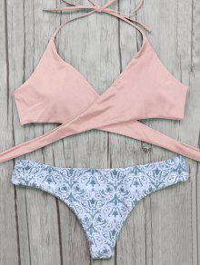 Pantalon Barroco Y Bikini Top Delantero Envuelto - Rosa M