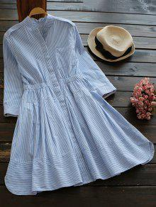 Striped Linen Blend Shirt Dress - Blue And White M