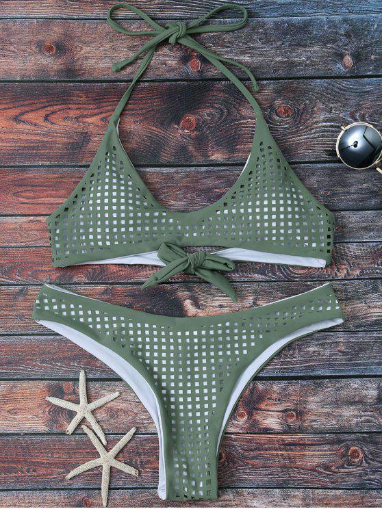 sale Square Laser Cut Bralette Bikini - ARMY GREEN M
