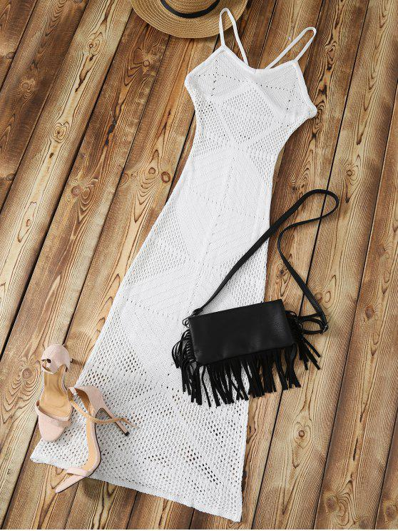 trendy Slip Crochet Backless Maxi Cover Up - WHITE ONE SIZE
