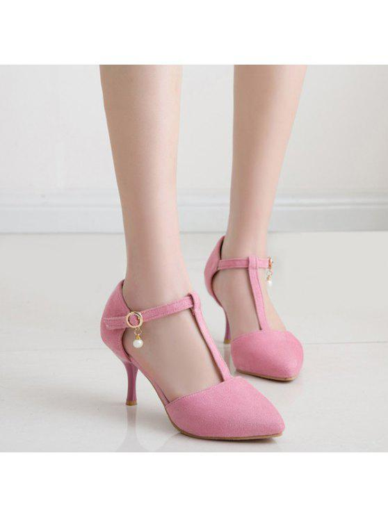 hot Faux Pearl T Strap Suede Pumps - PINK 37