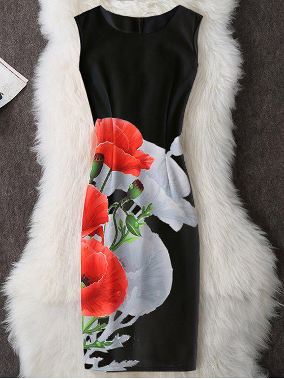 فستان ضيق بلا اكمام طباعة - أسود L