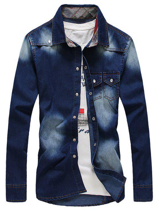 Bleach Wash Tasche design maniche lunghe Camicia di jeans - blu scuro M
