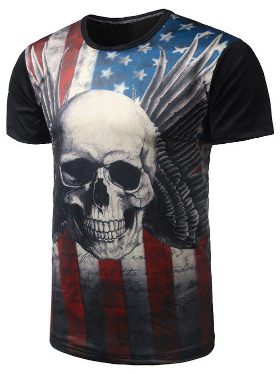 513a8dec 22% OFF] 2019 Skull Print Distressed American Flag T Shirt In BLACK ...
