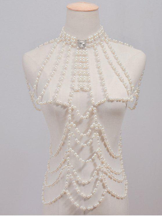 Cadena Cristal perlas de imitación moldeado del Cuerpo - Blanco