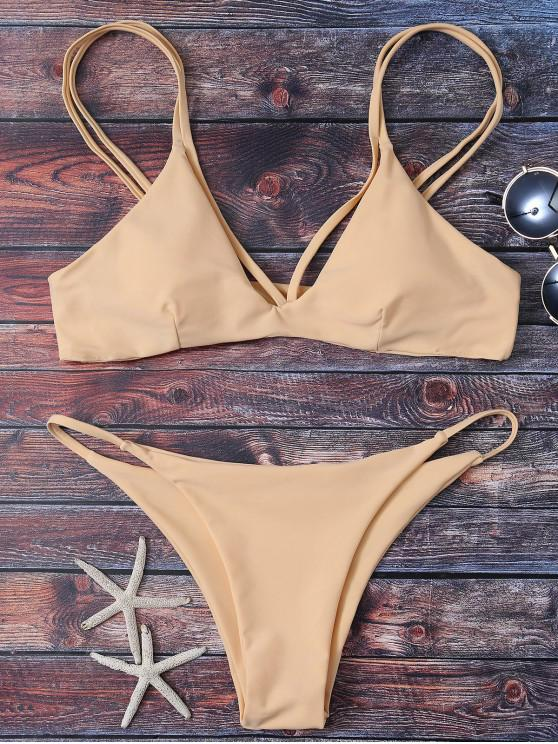 Pierna Alta de tiras del bikini Set - Albaricoque L
