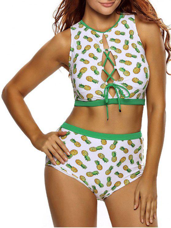 best Pineapple Lace Up High Waist Bikini Set - WHITE M