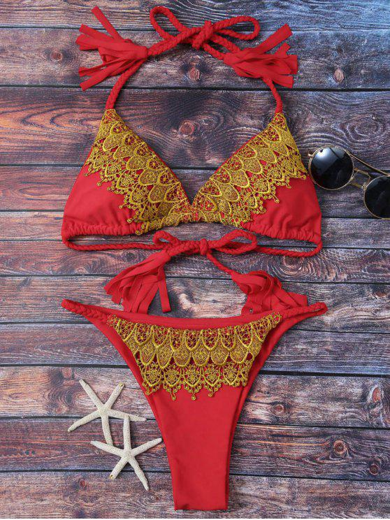 Apliques de cuerda trenzada del bikini de encaje - Rojo S