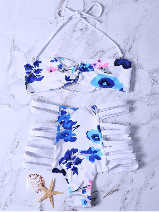 womens Printed High Waisted Strappy Bikini Set - WHITE M