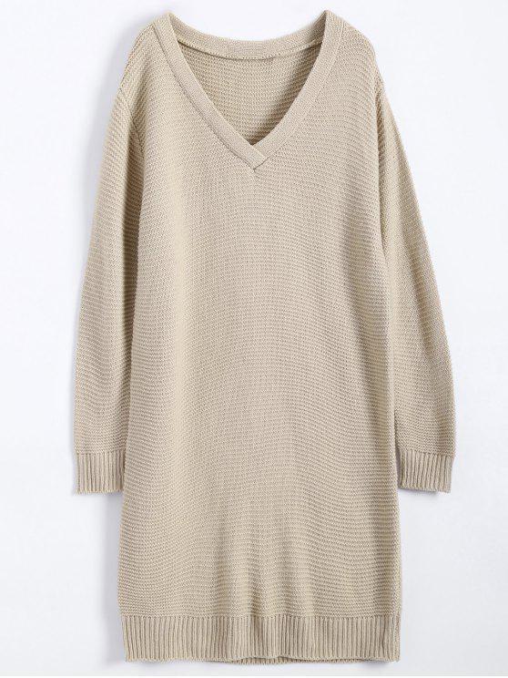 V cuello de la túnica del puente del suéter - CaquiClaro Única Talla