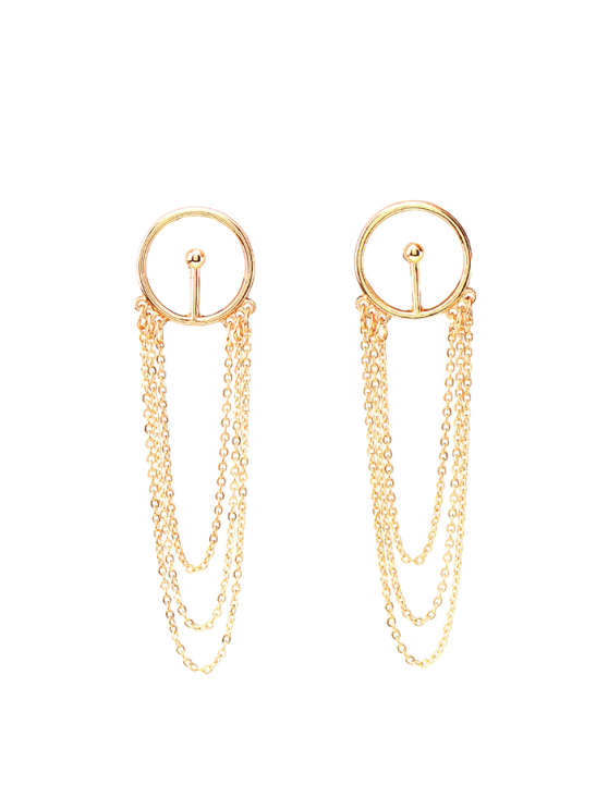 lady Circle Fringed Alloy Chain Drop Earrings - GOLDEN