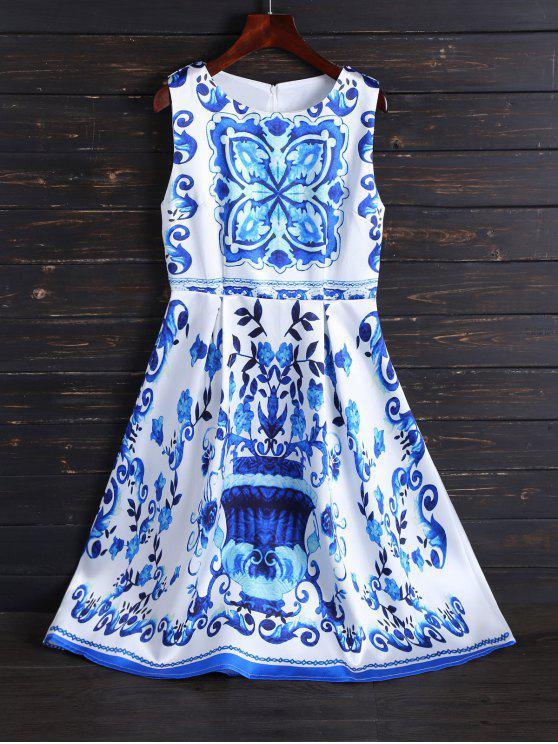 Imprimir Midi Fit y vestido de la llamarada - Blanco XL