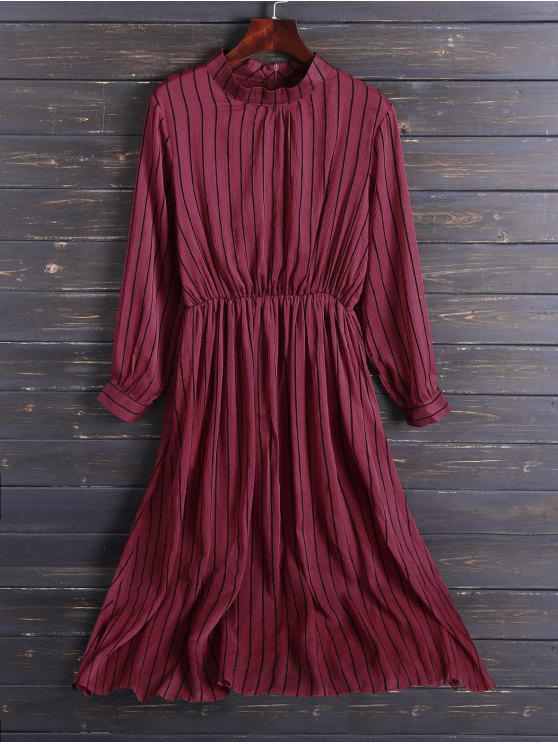 new Chiffon Striped Midi Dress - RED S