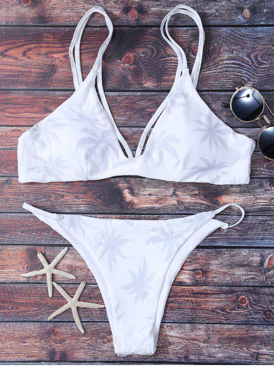 lady High Leg Palmtree Print Bikini Set - WHITE M
