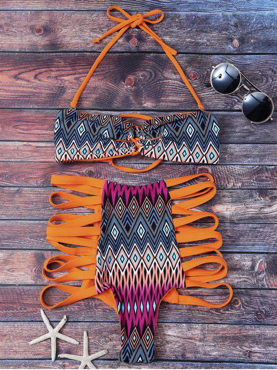 Estampado tribal de talle alto enjaulado Set Bikini - Naranja S
