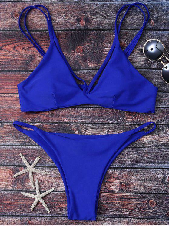 Ensemble de bikinis à bretelle bas levé - Bleu M